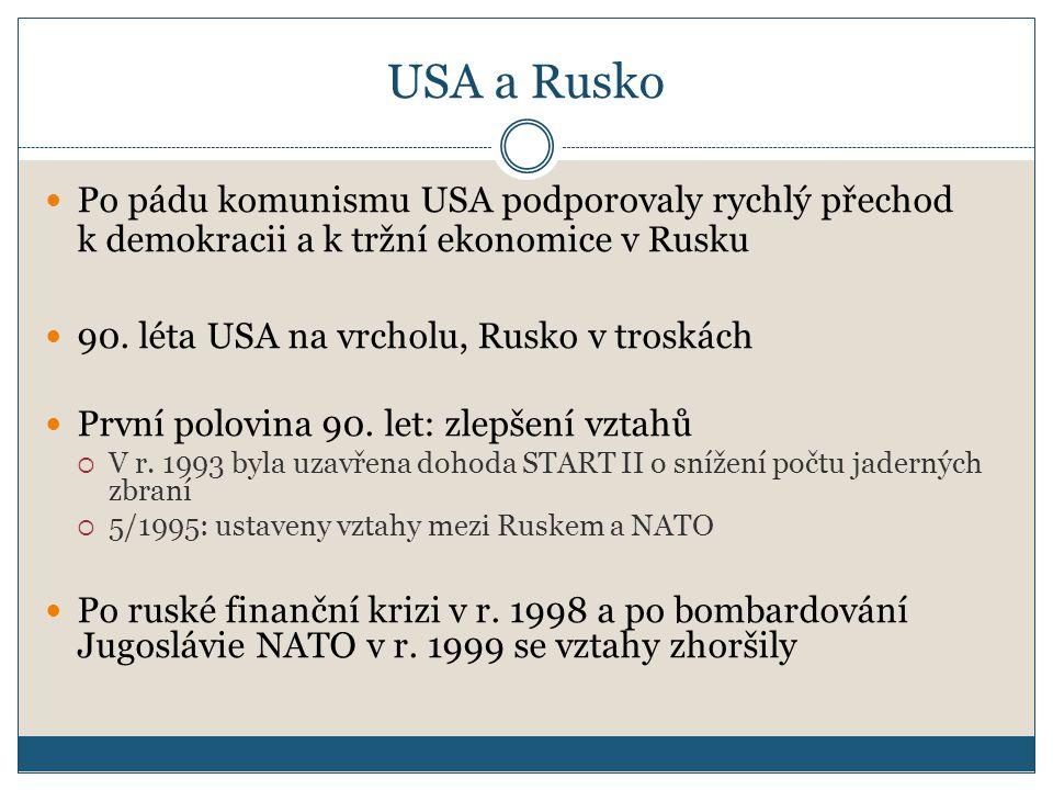 USA a Rusko Po pádu komunismu USA podporovaly rychlý přechod k demokracii a k tržní ekonomice v Rusku 90.
