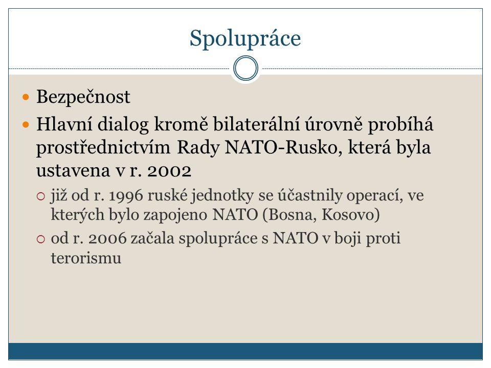 Spolupráce Bezpečnost Hlavní dialog kromě bilaterální úrovně probíhá prostřednictvím Rady NATO-Rusko, která byla ustavena v r.