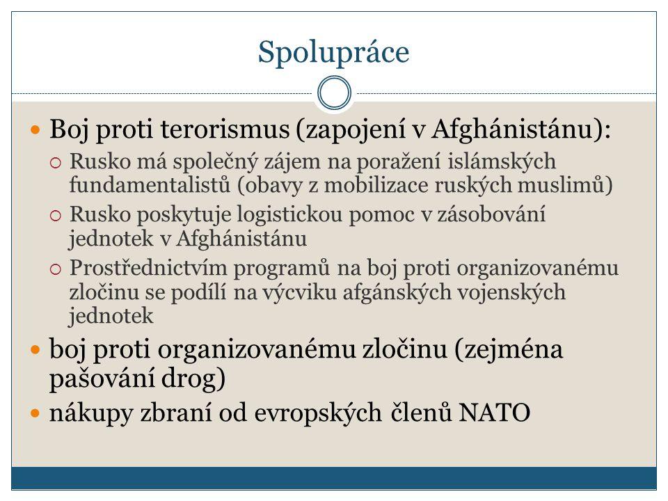 Spolupráce Boj proti terorismus (zapojení v Afghánistánu):  Rusko má společný zájem na poražení islámských fundamentalistů (obavy z mobilizace ruských muslimů)  Rusko poskytuje logistickou pomoc v zásobování jednotek v Afghánistánu  Prostřednictvím programů na boj proti organizovanému zločinu se podílí na výcviku afgánských vojenských jednotek boj proti organizovanému zločinu (zejména pašování drog) nákupy zbraní od evropských členů NATO