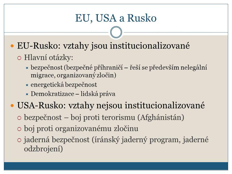 EU, USA a Rusko EU-Rusko: vztahy jsou institucionalizované  Hlavní otázky:  bezpečnost (bezpečné příhraničí – řeší se především nelegální migrace, organizovaný zločin)  energetická bezpečnost  Demokratizace – lidská práva USA-Rusko: vztahy nejsou institucionalizované  bezpečnost – boj proti terorismu (Afghánistán)  boj proti organizovanému zločinu  jaderná bezpečnost (íránský jaderný program, jaderné odzbrojení)