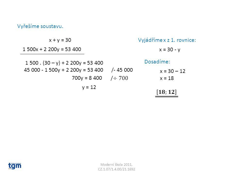 Moderní škola 2011, CZ.1.07/1.4.00/21.1692 Vyřešíme soustavu. x + y = 30 1 500x + 2 200y = 53 400 Vyjádříme x z 1. rovnice: x = 30 - y 1 500. (30 – y)