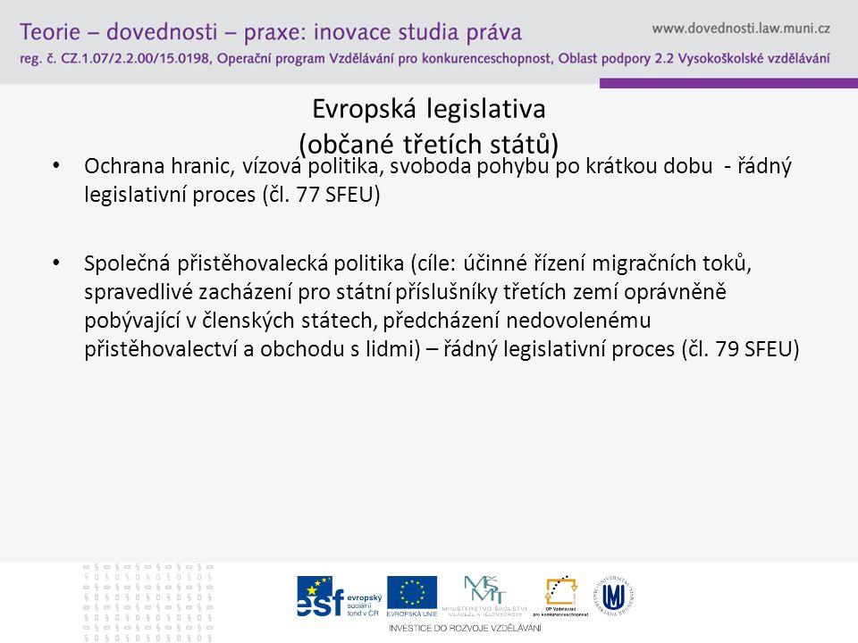 Evropská legislativa (občané třetích států) Ochrana hranic, vízová politika, svoboda pohybu po krátkou dobu - řádný legislativní proces (čl. 77 SFEU)