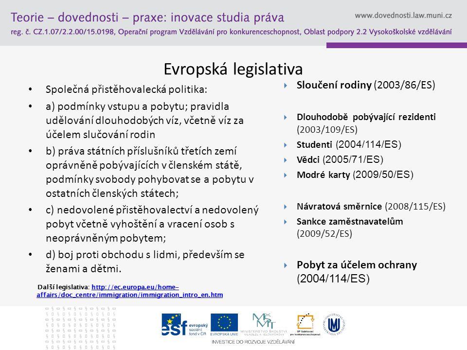 Evropská legislativa Společná přistěhovalecká politika: a) podmínky vstupu a pobytu; pravidla udělování dlouhodobých víz, včetně víz za účelem slučová