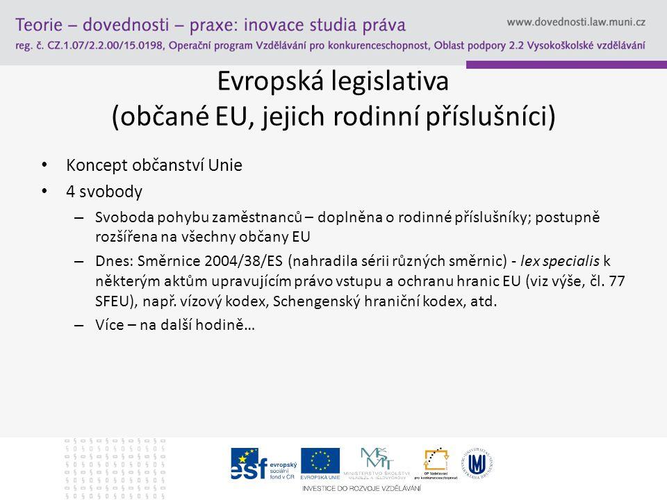 Evropská legislativa (občané EU, jejich rodinní příslušníci) Koncept občanství Unie 4 svobody – Svoboda pohybu zaměstnanců – doplněna o rodinné příslu