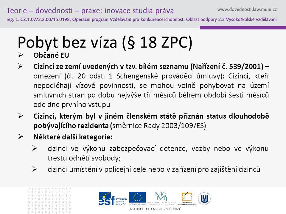 Pobyt bez víza (§ 18 ZPC)  Občané EU  Cizinci ze zemí uvedených v tzv. bílém seznamu (Nařízení č. 539/2001) – omezení (čl. 20 odst. 1 Schengenské pr