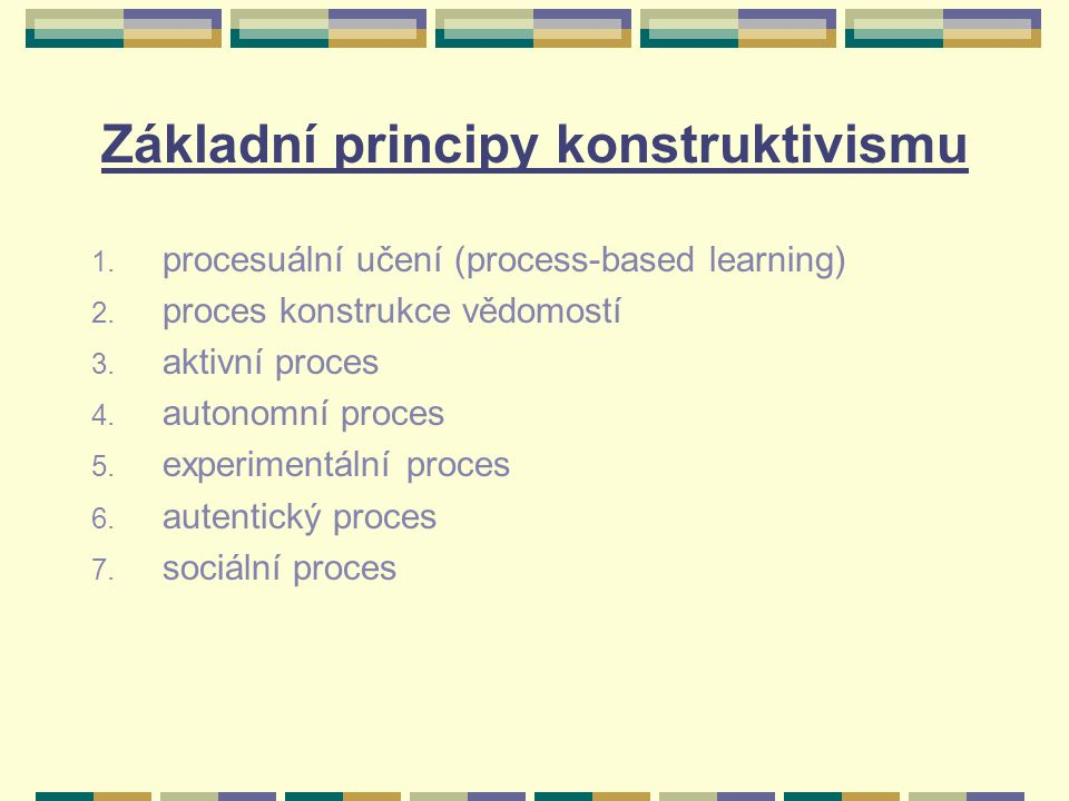 Přínos konstruktivistického učení rostoucí jazykové schopnosti, zvláště pak schopnost aplikovat teoretické vědomosti v praxi aktivní účast na učebním procesu hlubší a trvalejší uchovávání vědomostí zvýšená odpovědnost za výsledek učebního procesu zvýšené uvědomování si učebního procesu a jeho cílů zvýšený rozvoj myšlenkových operací schopnost rozlišovat stěžejní informace od podružných