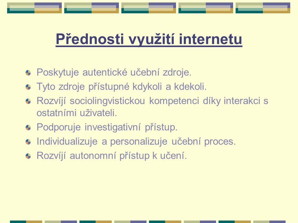 Možnosti využití internetu Využití on-line aktivit ve výuce dle Kabilana a Embiho: diskuse: o profesních problémech – vzájemná pomoc při řešení problémů spolupráce – projekty sdílení: materiálů, typů pro výuku atd.