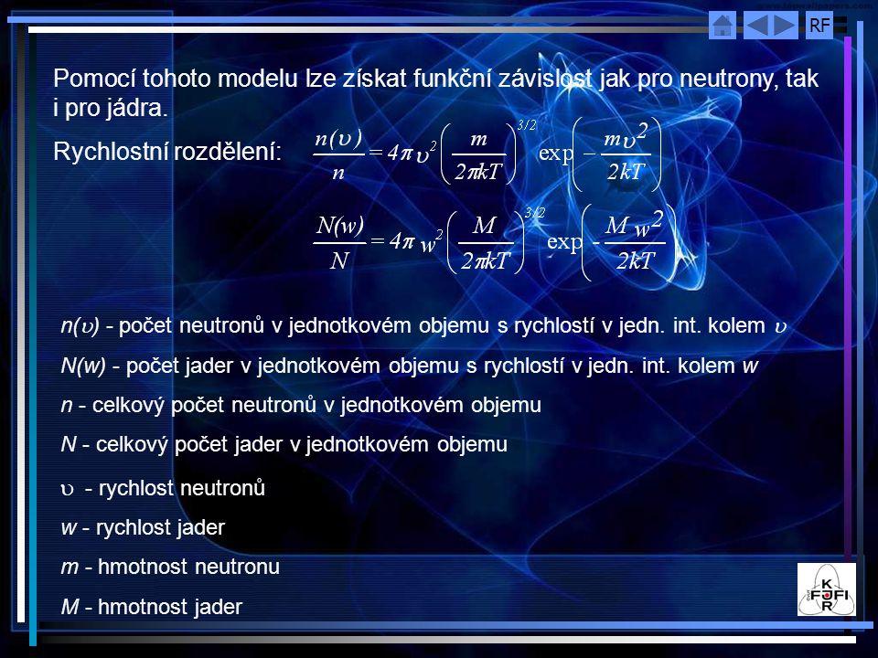 RF Pomocí tohoto modelu lze získat funkční závislost jak pro neutrony, tak i pro jádra. Rychlostní rozdělení: n(  ) - počet neutronů v jednotkovém ob