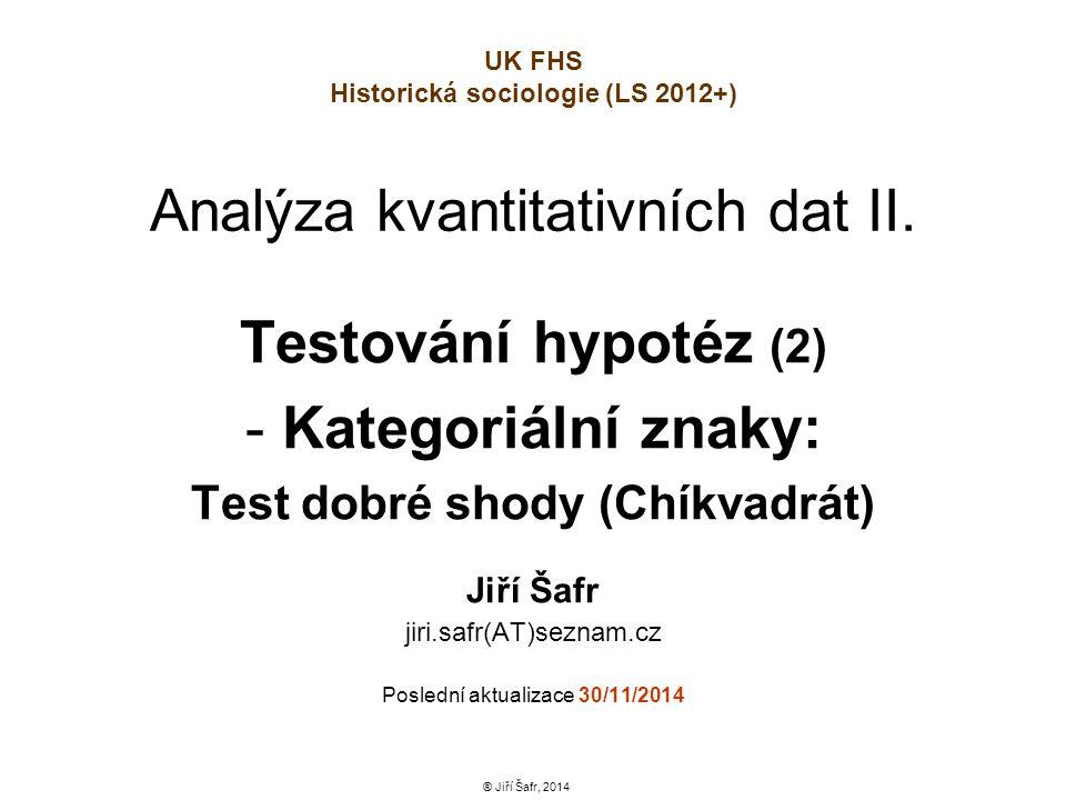 Analýza kvantitativních dat II. Testování hypotéz (2) - Kategoriální znaky: Test dobré shody (Chíkvadrát) Jiří Šafr jiri.safr(AT)seznam.cz Poslední ak
