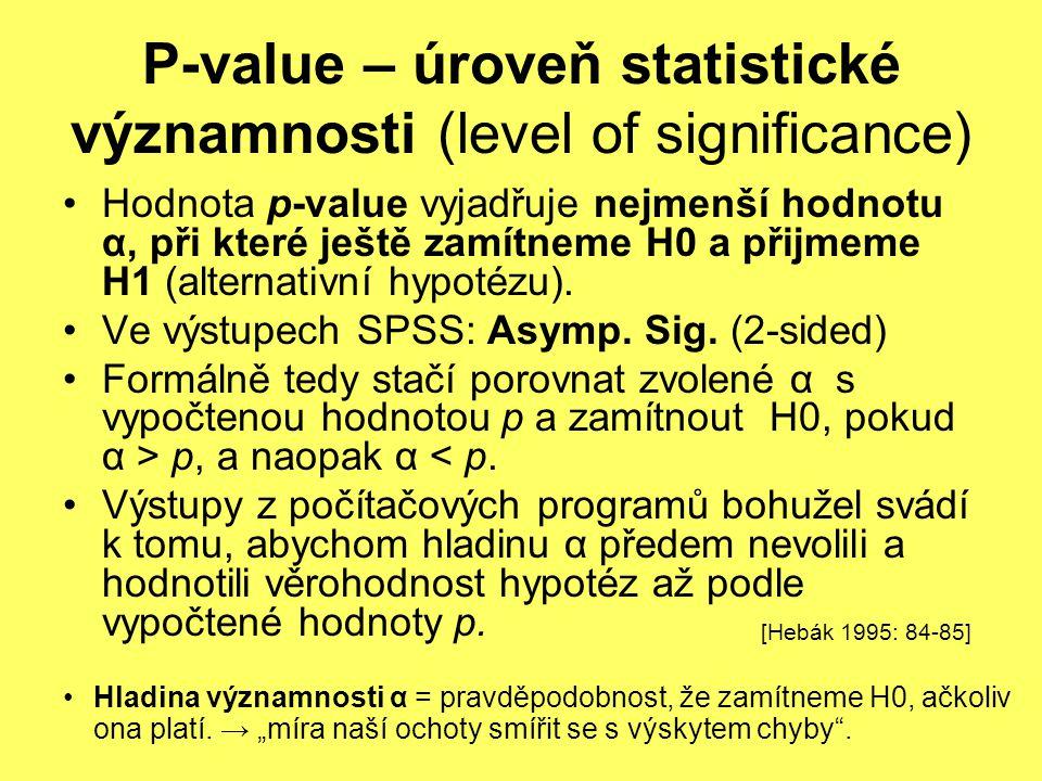 P-value – úroveň statistické významnosti (level of significance) Hodnota p-value vyjadřuje nejmenší hodnotu α, při které ještě zamítneme H0 a přijmeme