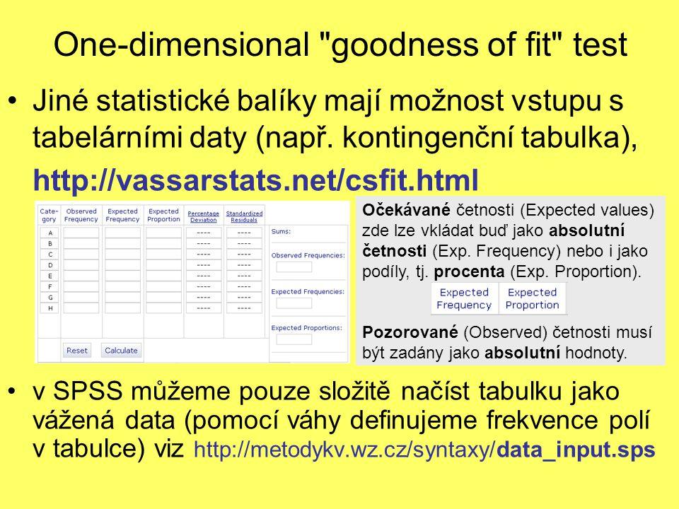 One-dimensional goodness of fit test Jiné statistické balíky mají možnost vstupu s tabelárními daty (např.