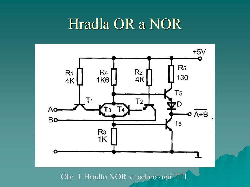 Hradla OR a NOR Obr. 1 Hradlo NOR v technologii TTL