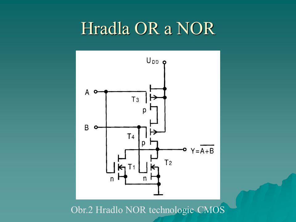 Hradla OR a NOR Obr.2 Hradlo NOR technologie CMOS