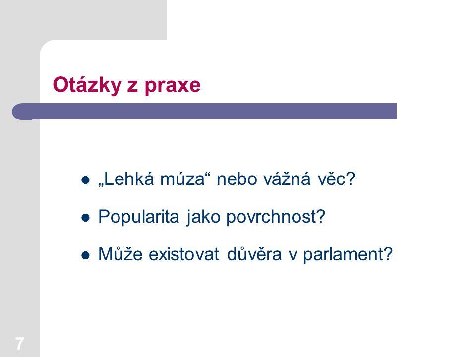 18 Institucionální působení Vývoj názorů na vliv Evropské unie na život v ČR (%)