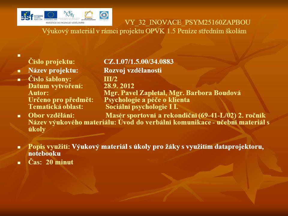 VY_32_INOVACE_PSYM25160ZAPBOU Výukový materiál v rámci projektu OPVK 1.5 Peníze středním školám Číslo projektu:CZ.1.07/1.5.00/34.0883 Název projektu:R