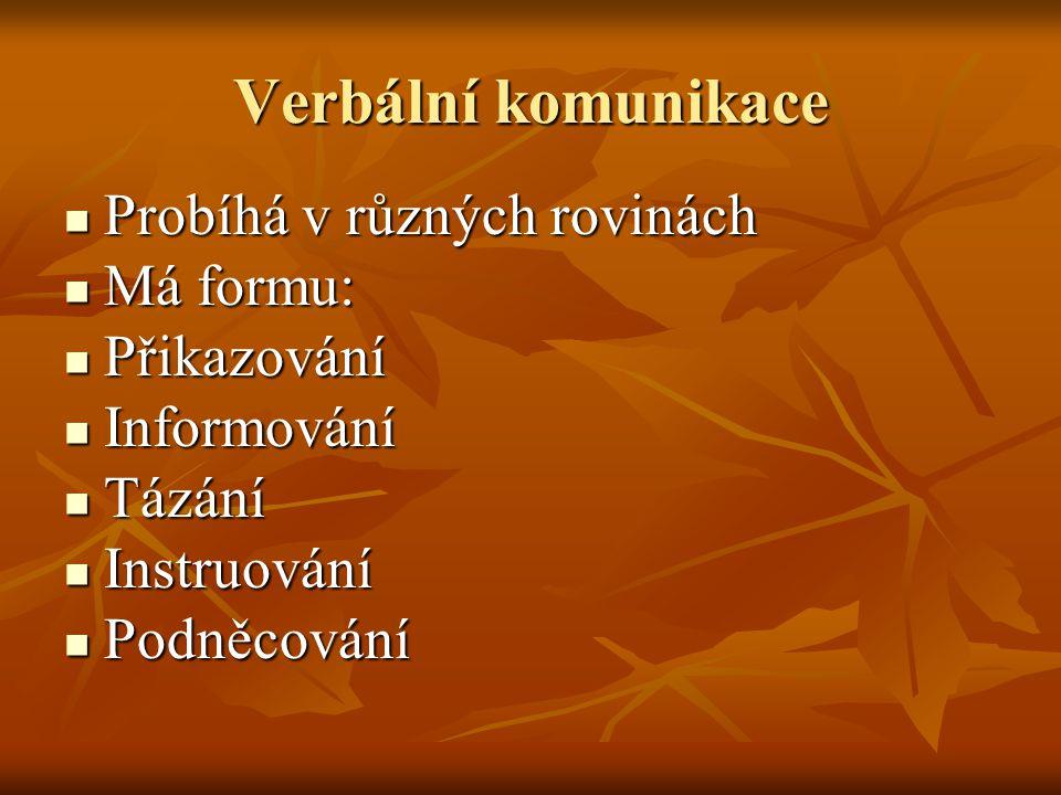Verbální komunikace Probíhá v různých rovinách Probíhá v různých rovinách Má formu: Má formu: Přikazování Přikazování Informování Informování Tázání T