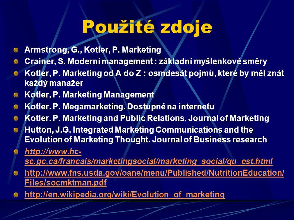 Použité zdoje Armstrong, G., Kotler, P. Marketing Crainer, S. Moderní management : základní myšlenkové směry Kotler, P. Marketing od A do Z : osmdesát