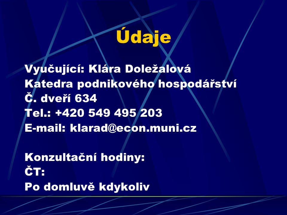 Údaje Vyučující: Klára Doležalová Katedra podnikového hospodářství Č. dveří 634 Tel.: +420 549 495 203 E-mail: klarad@econ.muni.cz Konzultační hodiny:
