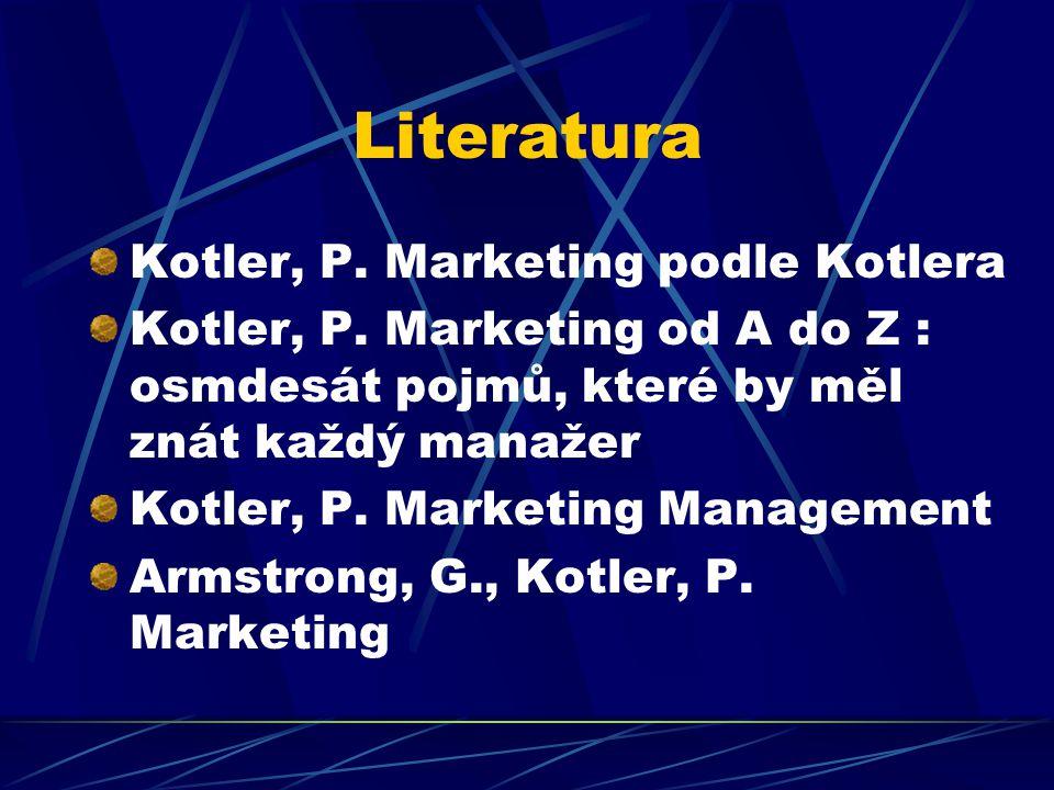 Literatura Kotler, P. Marketing podle Kotlera Kotler, P. Marketing od A do Z : osmdesát pojmů, které by měl znát každý manažer Kotler, P. Marketing Ma