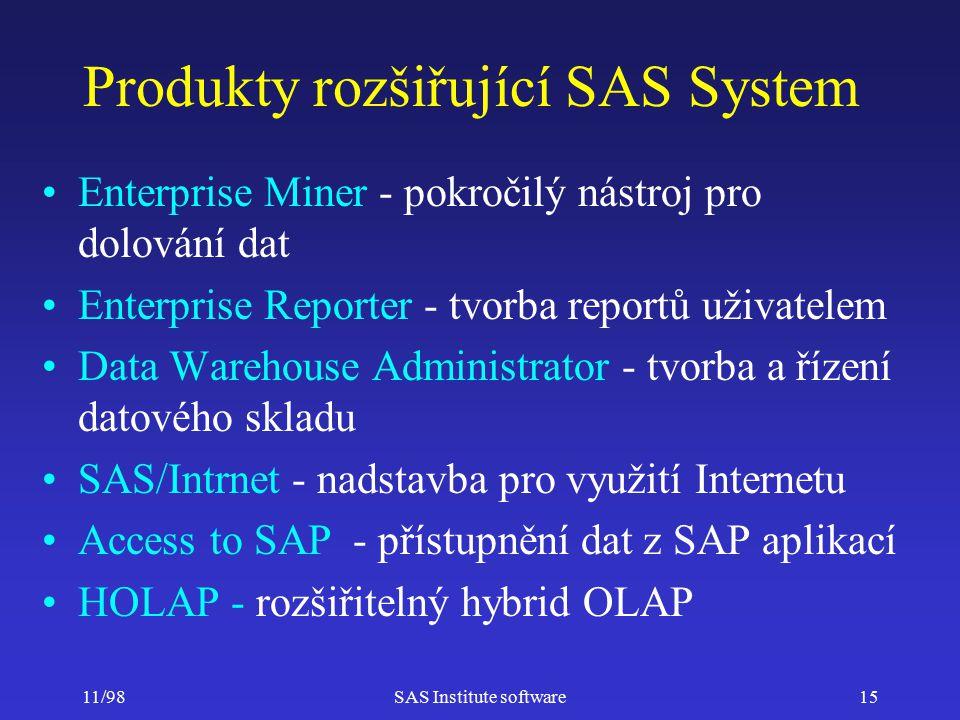 11/98SAS Institute software15 Produkty rozšiřující SAS System Enterprise Miner - pokročilý nástroj pro dolování dat Enterprise Reporter - tvorba reportů uživatelem Data Warehouse Administrator - tvorba a řízení datového skladu SAS/Intrnet - nadstavba pro využití Internetu Access to SAP - přístupnění dat z SAP aplikací HOLAP - rozšiřitelný hybrid OLAP