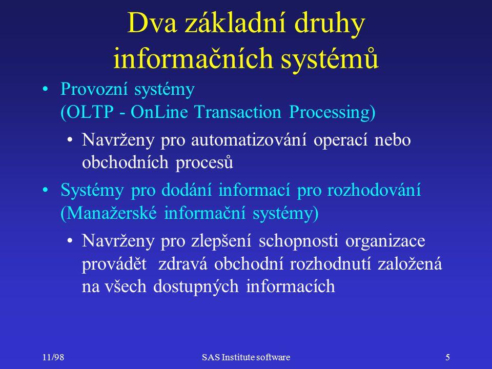 11/98SAS Institute software5 Dva základní druhy informačních systémů Provozní systémy (OLTP - OnLine Transaction Processing) Navrženy pro automatizování operací nebo obchodních procesů Systémy pro dodání informací pro rozhodování (Manažerské informační systémy) Navrženy pro zlepšení schopnosti organizace provádět zdravá obchodní rozhodnutí založená na všech dostupných informacích