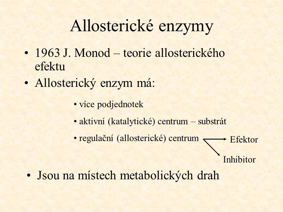Allosterické enzymy 1963 J. Monod – teorie allosterického efektu Allosterický enzym má: více podjednotek aktivní (katalytické) centrum – substrát regu