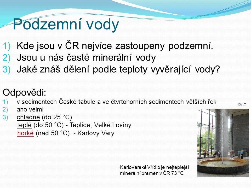 Podzemní vody 1) Kde jsou v ČR nejvíce zastoupeny podzemní. 2) Jsou u nás časté minerální vody 3) Jaké znáš dělení podle teploty vyvěrající vody? Odpo