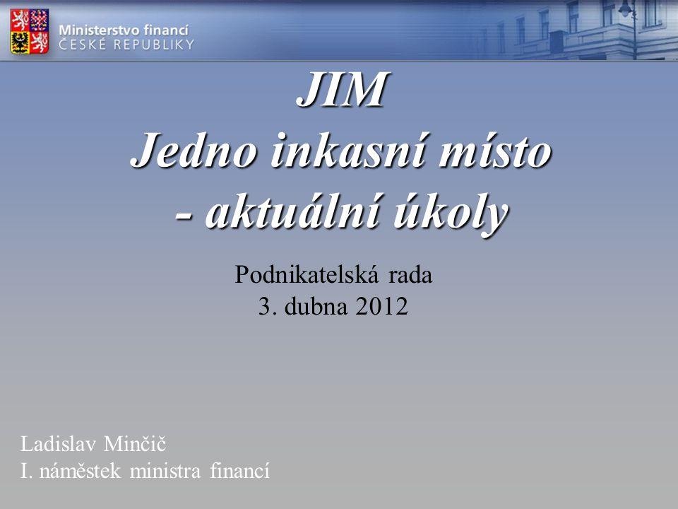 JIM Jedno inkasní místo - aktuální úkoly Podnikatelská rada 3. dubna 2012 Ladislav Minčič I. náměstek ministra financí