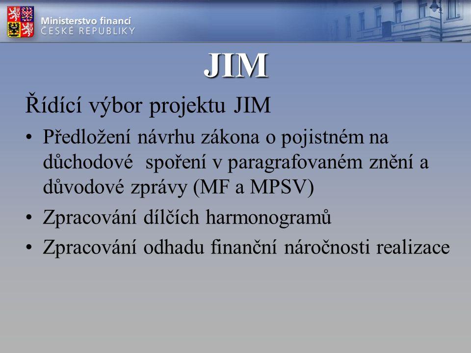 JIM Řídící výbor projektu JIM Předložení návrhu zákona o pojistném na důchodové spoření v paragrafovaném znění a důvodové zprávy (MF a MPSV) Zpracování dílčích harmonogramů Zpracování odhadu finanční náročnosti realizace