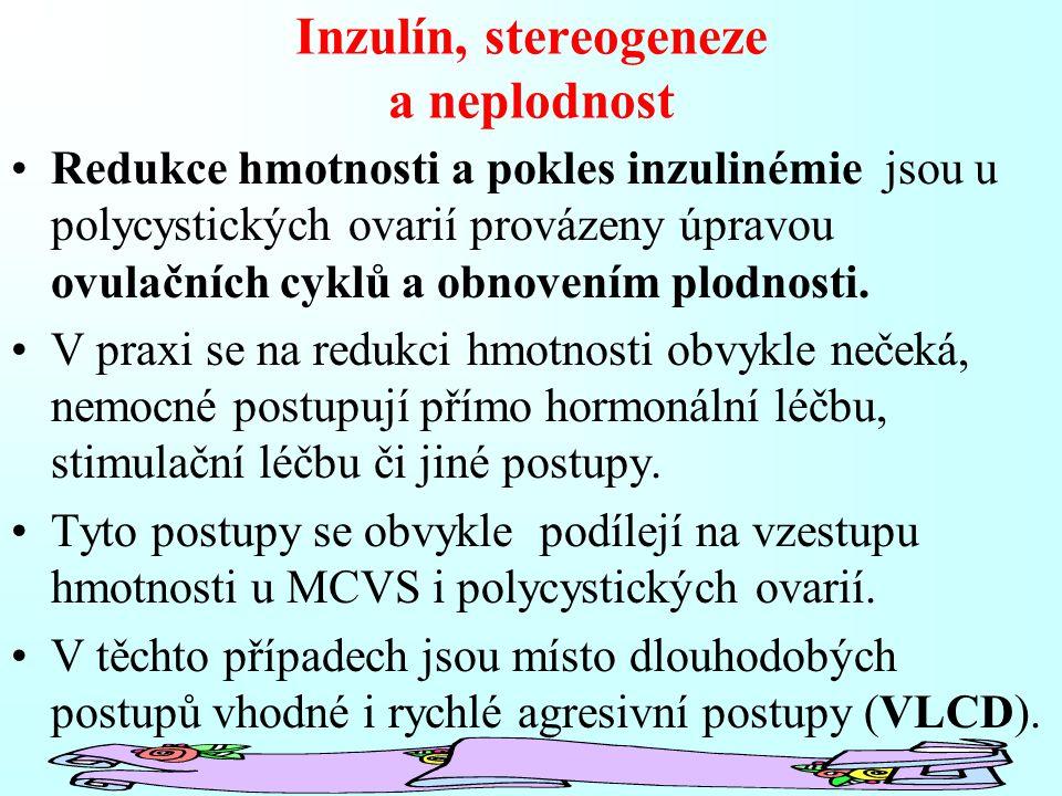 Inzulín, stereogeneze a neplodnost Redukce hmotnosti a pokles inzulinémie jsou u polycystických ovarií provázeny úpravou ovulačních cyklů a obnovením plodnosti.