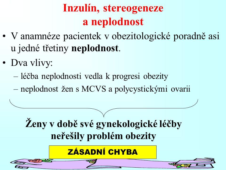 Inzulín, stereogeneze a neplodnost V anamnéze pacientek v obezitologické poradně asi u jedné třetiny neplodnost. Dva vlivy: –léčba neplodnosti vedla k