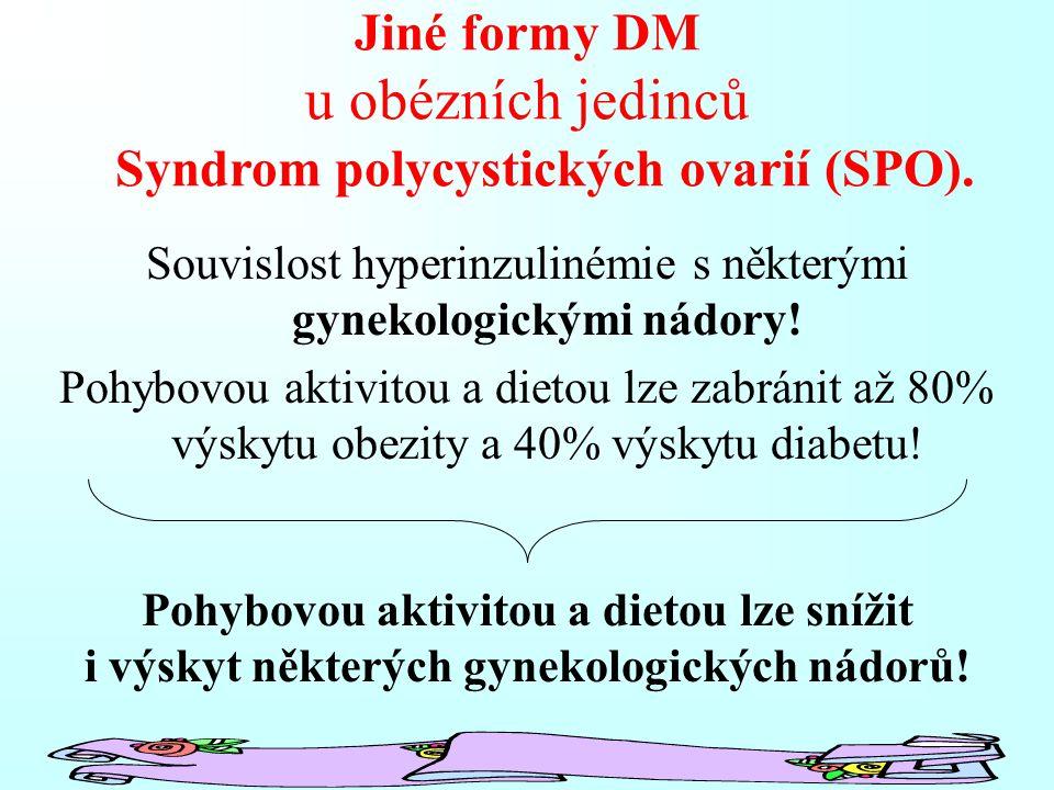 Jiné formy DM u obézních jedinců Souvislost hyperinzulinémie s některými gynekologickými nádory! Pohybovou aktivitou a dietou lze zabránit až 80% výsk