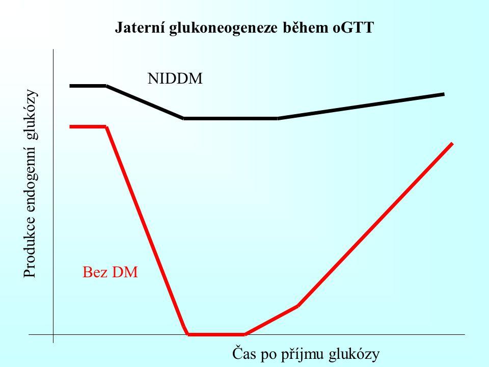 Jaterní glukoneogeneze během oGTT Produkce endogenní glukózy Čas po příjmu glukózy Bez DM NIDDM