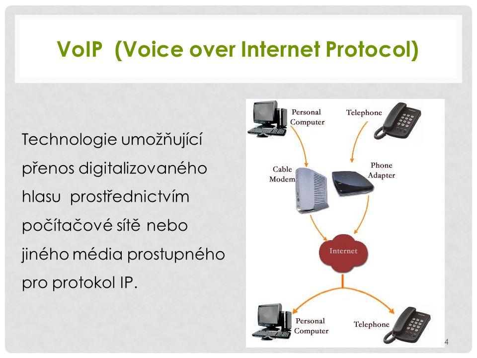 VoIP (Voice over Internet Protocol) Technologie umožňující přenos digitalizovaného hlasu prostřednictvím počítačové sítě nebo jiného média prostupného pro protokol IP.