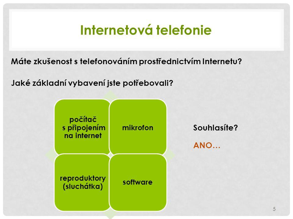Internetová telefonie Máte zkušenost s telefonováním prostřednictvím Internetu.