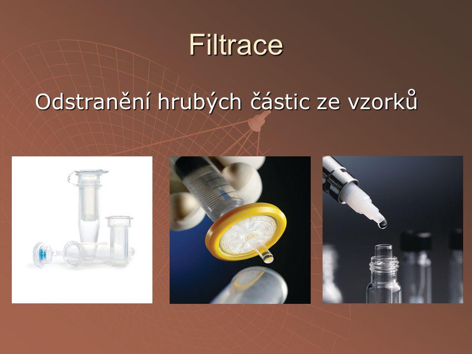 Filtrace Odstranění hrubých částic ze vzorků