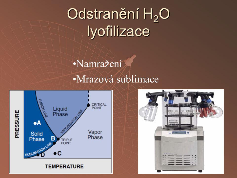Odstranění H 2 O lyofilizace Namražení Mrazová sublimace