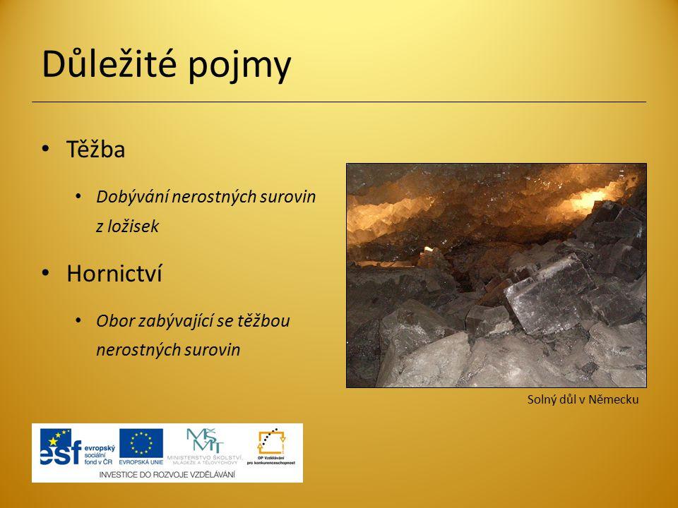Důležité pojmy Těžba Dobývání nerostných surovin z ložisek Hornictví Obor zabývající se těžbou nerostných surovin Solný důl v Německu
