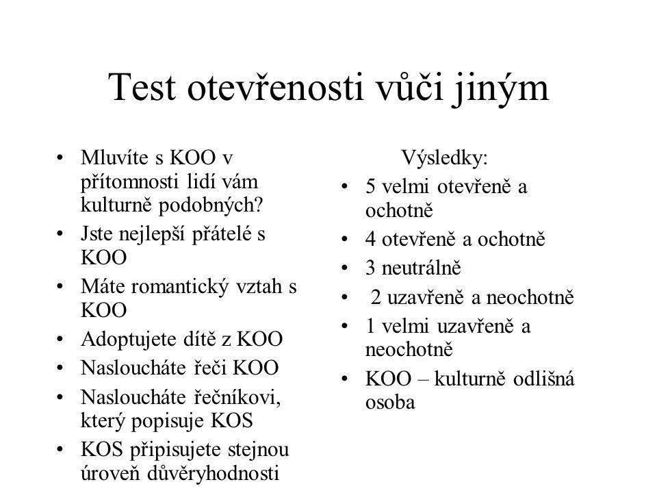 Test otevřenosti vůči jiným Mluvíte s KOO v přítomnosti lidí vám kulturně podobných? Jste nejlepší přátelé s KOO Máte romantický vztah s KOO Adoptujet