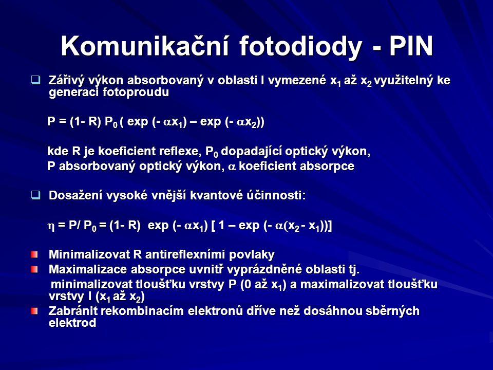Komunikační fotodiody - PIN  Zářivý výkon absorbovaný v oblasti I vymezené x 1 až x 2 využitelný ke generaci fotoproudu P = (1- R) P 0 ( exp (-  x 1