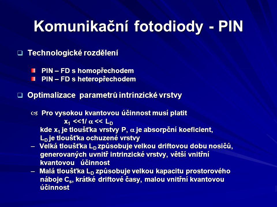 Komunikační fotodiody - PIN  Technologické rozdělení PIN – FD s homopřechodem PIN – FD s homopřechodem PIN – FD s heteropřechodem PIN – FD s heteropř