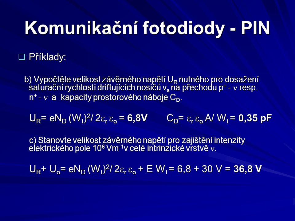 Komunikační fotodiody - PIN  Příklady: b) Vypočtěte velikost závěrného napětí U R nutného pro dosažení saturační rychlosti driftujících nosičů v s na