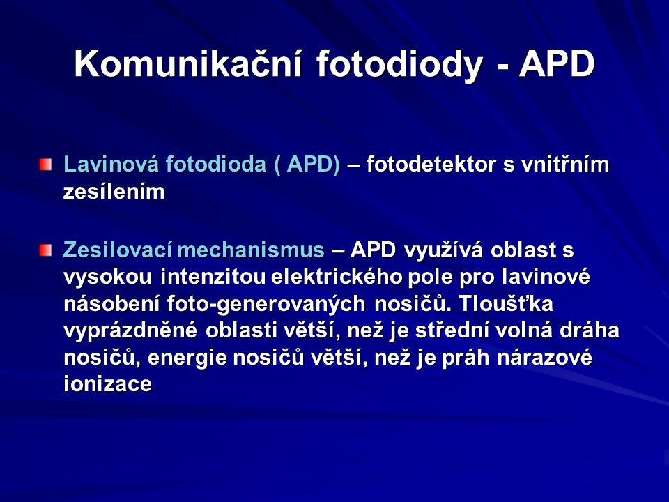 Komunikační fotodiody - APD Lavinová fotodioda ( APD) – fotodetektor s vnitřním zesílením Zesilovací mechanismus – APD využívá oblast s vysokou intenz