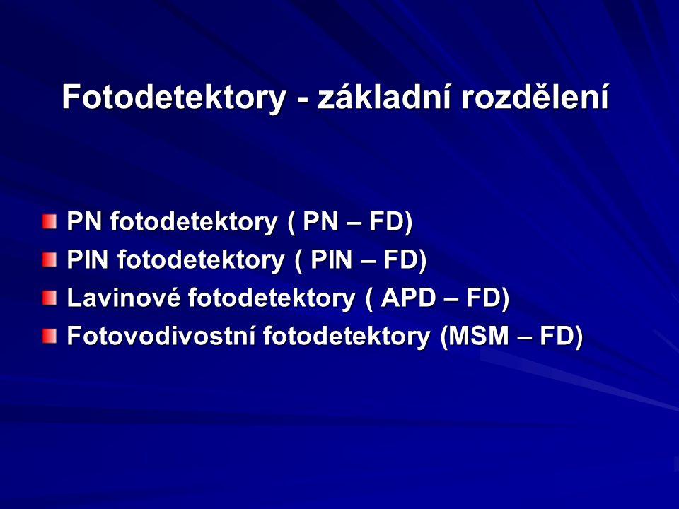 Fotodetektory - základní rozdělení PN fotodetektory ( PN – FD) PIN fotodetektory ( PIN – FD) Lavinové fotodetektory ( APD – FD) Fotovodivostní fotodet