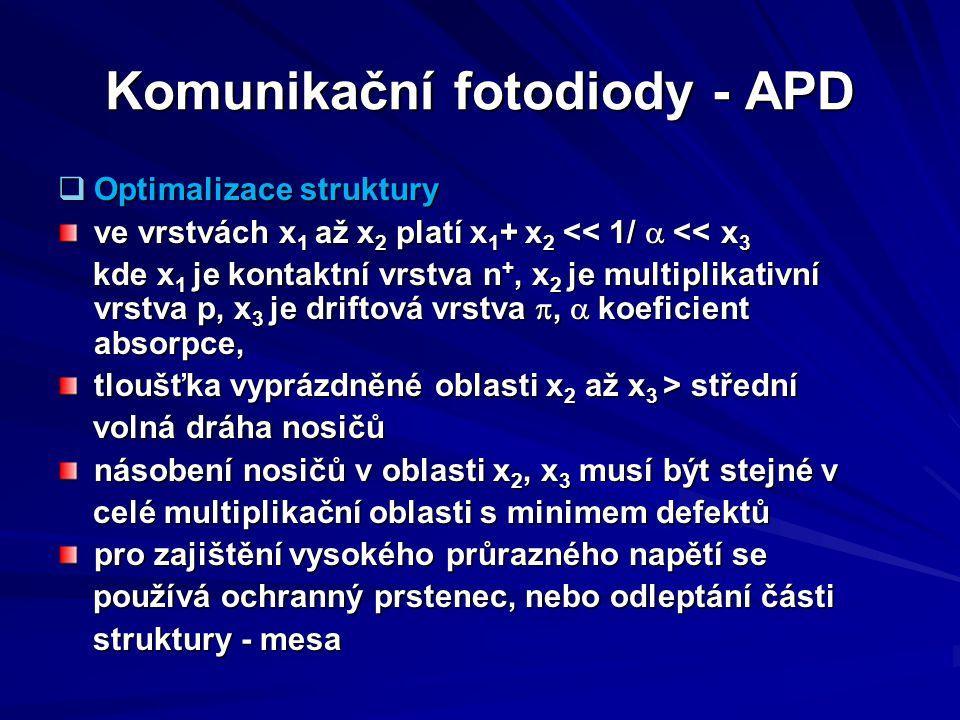 Komunikační fotodiody - APD  Optimalizace struktury ve vrstvách x 1 až x 2 platí x 1 + x 2 << 1/  << x 3 kde x 1 je kontaktní vrstva n +, x 2 je mu