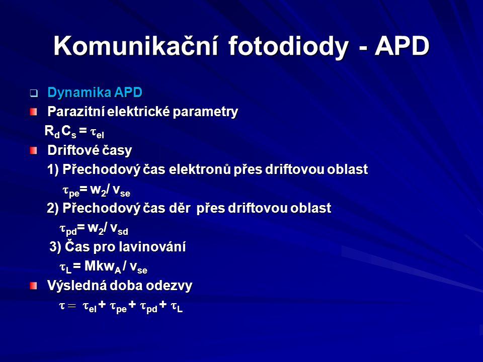 Komunikační fotodiody - APD  Dynamika APD Parazitní elektrické parametry R d C s =  el R d C s =  el Driftové časy 1) Přechodový čas elektronů přes