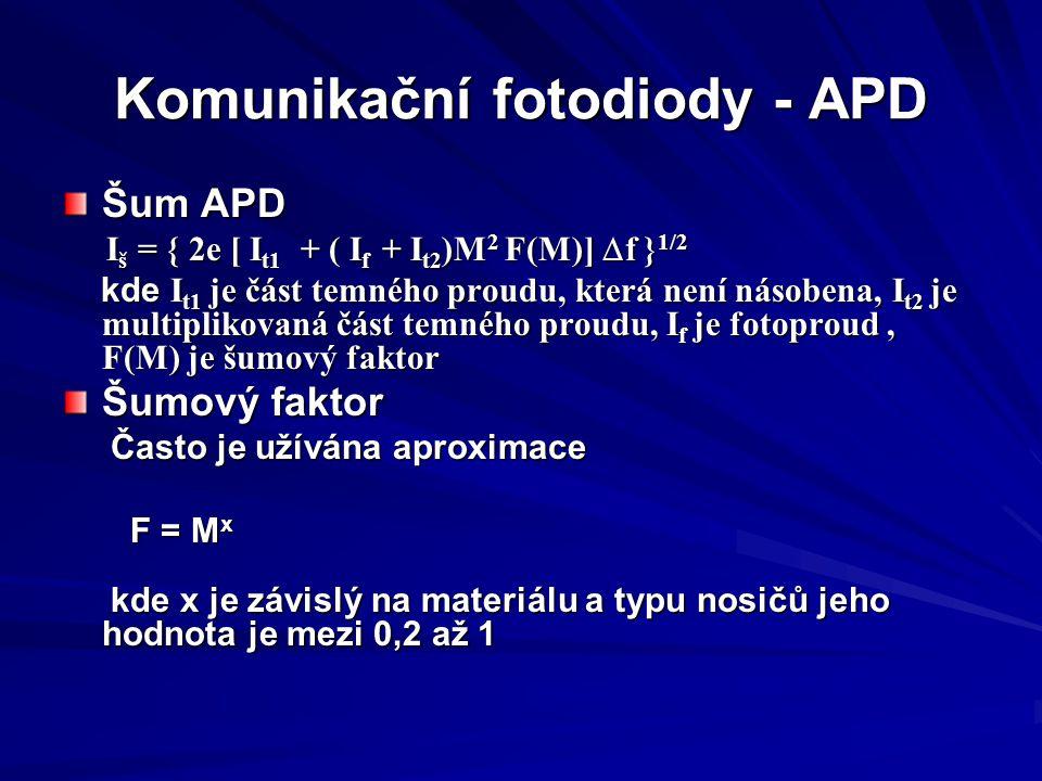 Komunikační fotodiody - APD Šum APD I š = { 2e [ I t1 + ( I f + I t2 )M 2 F(M)]  f } 1/2 I š = { 2e [ I t1 + ( I f + I t2 )M 2 F(M)]  f } 1/2 kde I