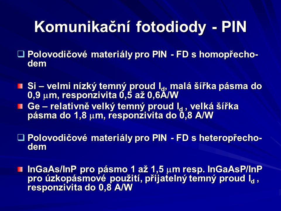 Komunikační fotodiody - PIN  Polovodičové materiály pro PIN - FD s homopřecho- dem Si – velmi nízký temný proud I d, malá šířka pásma do 0,9  m, res