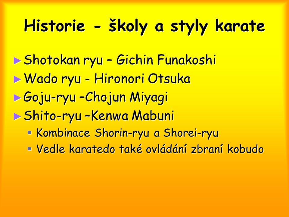 Historie - školy a styly karate ► Shotokan ryu – Gichin Funakoshi ► Wado ryu - Hironori Otsuka ► Goju-ryu –Chojun Miyagi ► Shito-ryu –Kenwa Mabuni  K