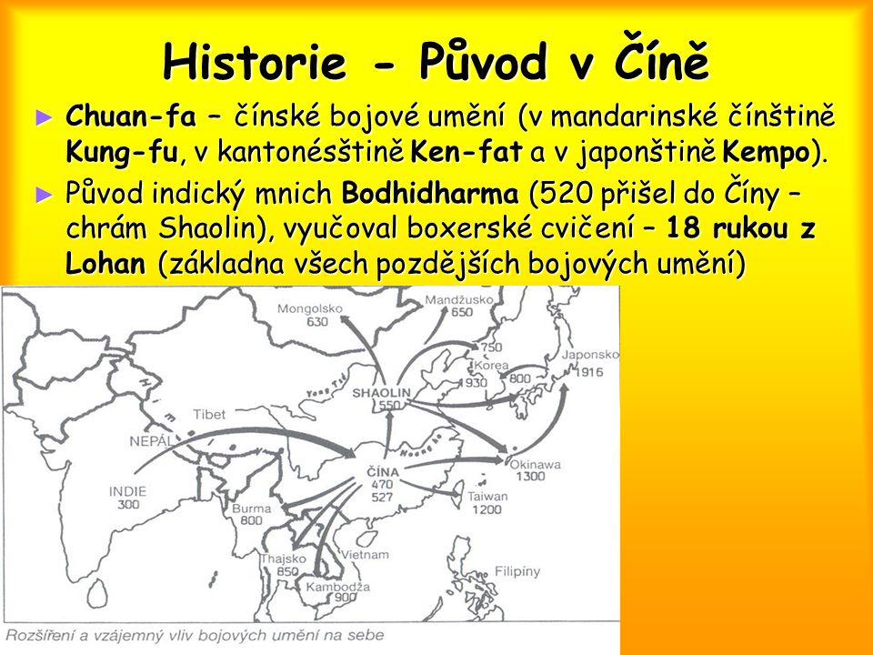 Historie - Původ v Číně ► Chuan-fa – čínské bojové umění (v mandarinské čínštině Kung-fu, v kantonésštině Ken-fat a v japonštině Kempo). ► Původ indic